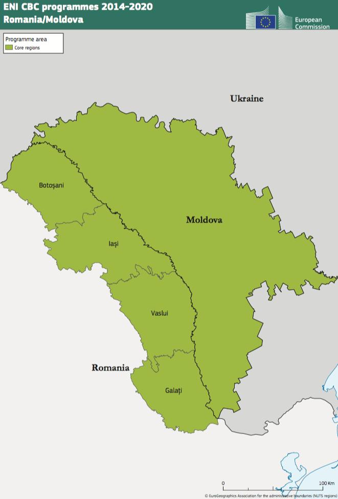 Romania-Moldova ENI CBC Programme 2014-2020 Map
